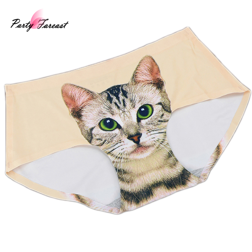 PF Cute Cat   Panties   for Women Girls Seamless Breathable Sexy Underwear Calcinha Cartoon Printing Sexy Lingerie Culotte Femme