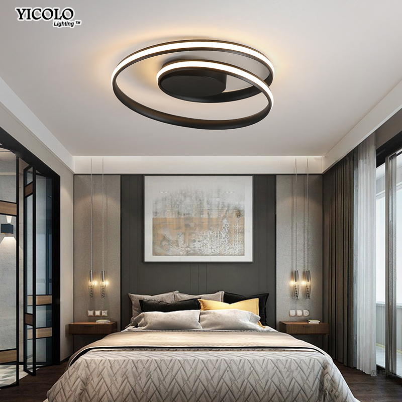 Modern Chandeliers Led Lamp For Living Room Bedroom Study Room White Black Color Surface Mounted
