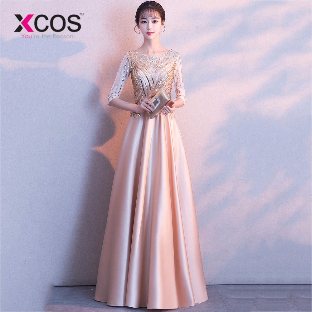XCOS 2018 Pink Long   Prom     Dress   A Line Scoop Half Sleeve Sequin Evening Gowns vestidos de graduacion Floor Length robe de bal
