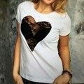 Новое Прибытие Летняя Мода Blusas 2016 Т Рубашки Женщины Короткие рукавом О Шеи Кружева Прозрачной Сексуальная Футболка Повседневная Топы Плюс размер