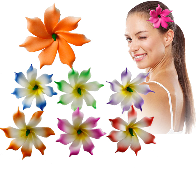 50 Easter decoration New Fashion Foam Hawaiian  Artificial flowers girls hairpins barrette bride women hair accessories