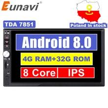 """Eunavi 2 Din 7 """"Octa core Universale Android 8.0 4 GB di RAM Car Radio Stereo GPS di Navigazione WiFi 1024*600 Touch Screen 2din PC per auto"""