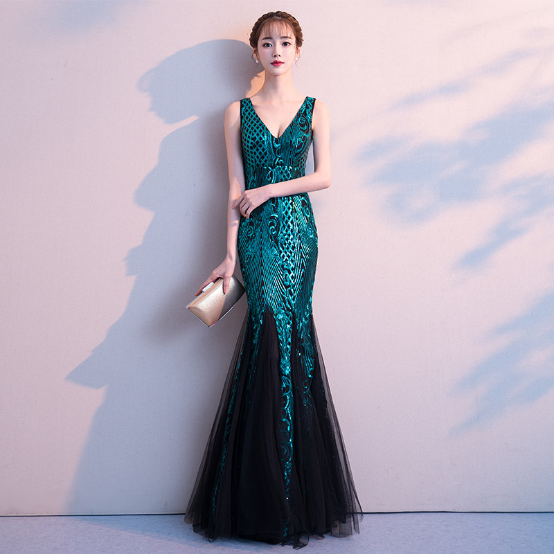 1a952e8847e8c weiyin Robe De Soiree V-Neck 20 Newfashioned Mermaid Long Evening Dresses  Backless Luxury Sequin Formal Party Dress Prom Gowns