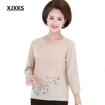 XJXKS nowy 2019 duży rozmiar kobiet moda wiatr wokół szyi sweter Hollow Out kobiety sweter na co dzień cienki sweter tanie i dobre opinie Wool Nylon Acrylic Wełna Akrylowe Mieszkanie dzianiny Trzy czwarte Floral O-neck REGULAR NONE Cienkie Brak Swetry ZD 3553