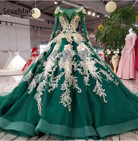 New Arrival Green Beaded Wedding Dresses With Long Sleeves Gold Appliques Lace Bridal Wedding Gowns Robe De Mariee Custom Made
