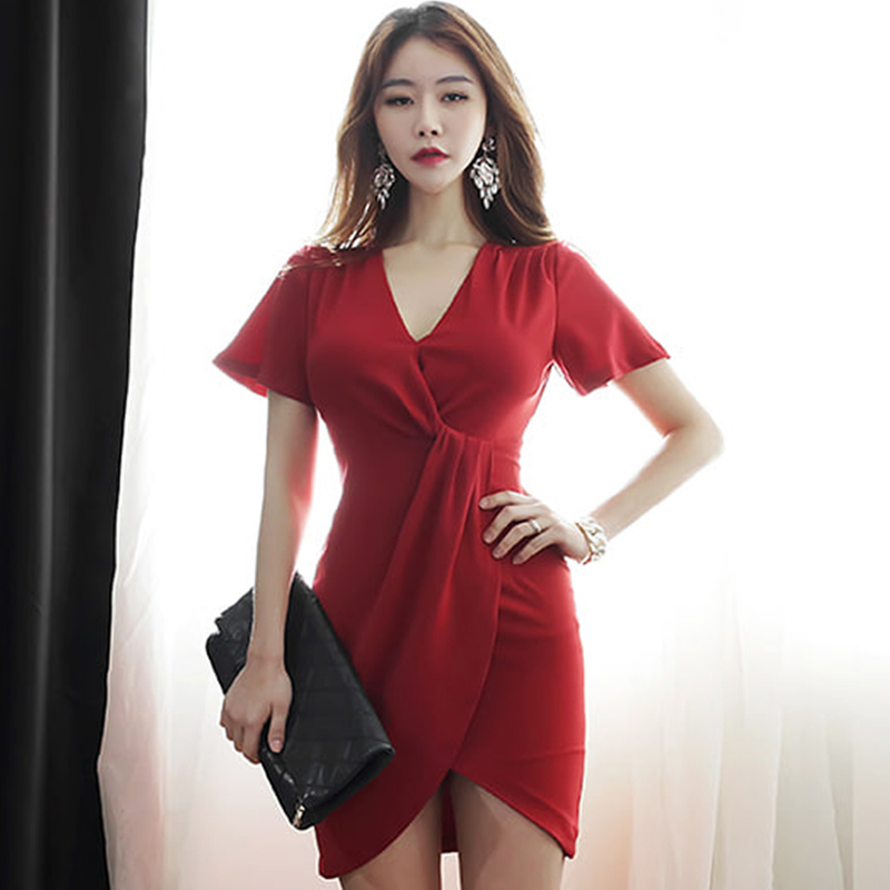 2018 Summer Women Cloth V-Neck Short Sleeve Sexy Mini Bodycon Red Party Dress