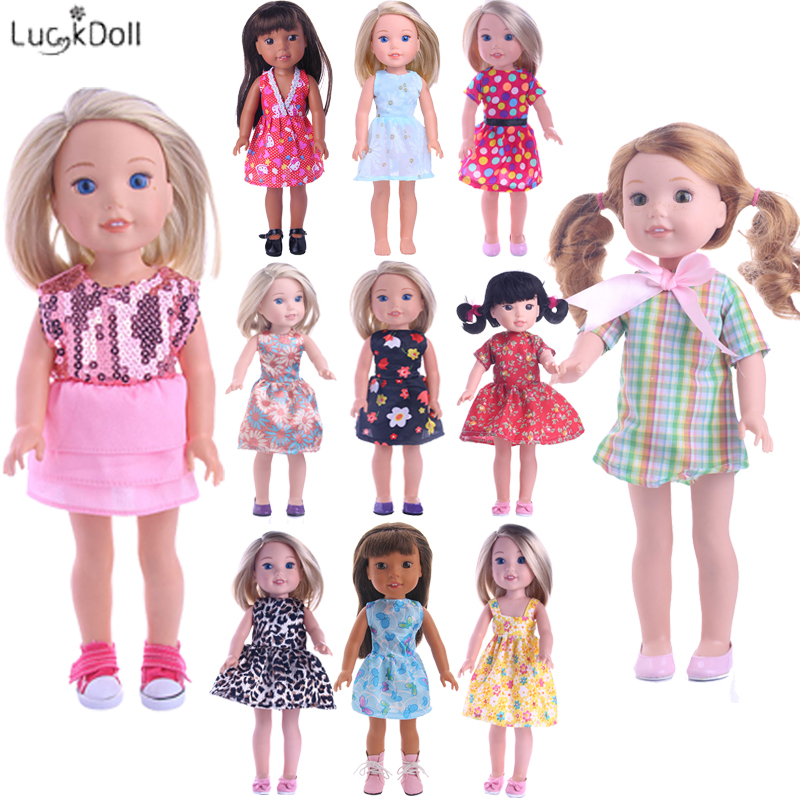 Luckdoll 12Styles Doll Clothes Choose(Cute Dress And Pretty Suit)Fit For 14.5 Inch Wellie Wishers Doll,Clothes Stand 10 Pcs/Pack