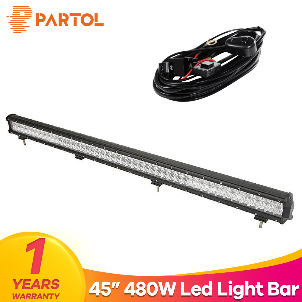 Partol 45 480W 5D LED Light Bar Straight Spot Flood Combo Beam Car Work Light Bars Driving Lamp For 4x4 Offroad 4WD 12V ATV SUV цена