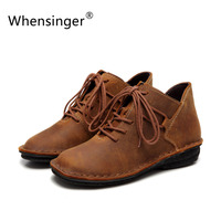 2015 New Winter Shoes Mori Japanese Wild Retro Handmade Leather Brown Lace Up Shoes With Flat
