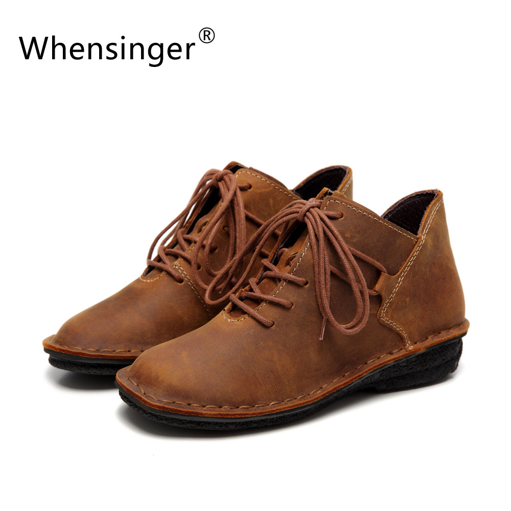 Whensinger - 2017 Women Shoes Female Full Grain Leather Handmade Ankle Lace-Up Plain Solid Fashion Boots 985