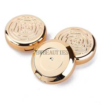 100Psc/Lot Gold Empty Cosmetic Eyeshadow Case with Aluminum Pan mirror Makeup Powder Puff Compact Container Blush Box - DISCOUNT ITEM  8% OFF All Category