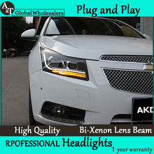 A&T Car Styling for Cruze Headlights Bi Xenon LED Headlight DRL Lens Double Beam H7 HID Car Accessories