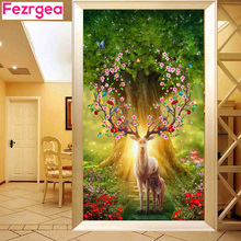 Fezrgea DIY 5D Diamond Painting Dream Elk Dream Landscape Diamond Embroidery Cross Stitch Mozaic Rhinestone Drill Gift تزئینات خانگی