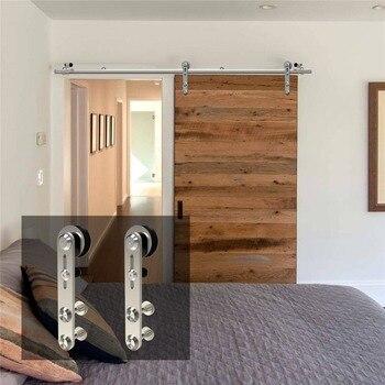 LWZH 4-9.6FT Круглые Серебряные нержавеющей стали пуэта корредера деревянные и стеклянные раздвижные двери комплект оборудования для одной две...