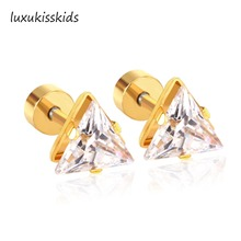 LUXUKISSKIDS Exquisite Jewelry New Gold Silver Color Stainless Steel Triangle Crystal Stud Earrings For Kids /Women Accessories