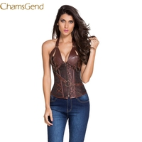 CHAMSGEN Sexy Underbust Corset Corselet Latex Waist Women S Steampunk Steel Boned Bustier PU Leather Halter