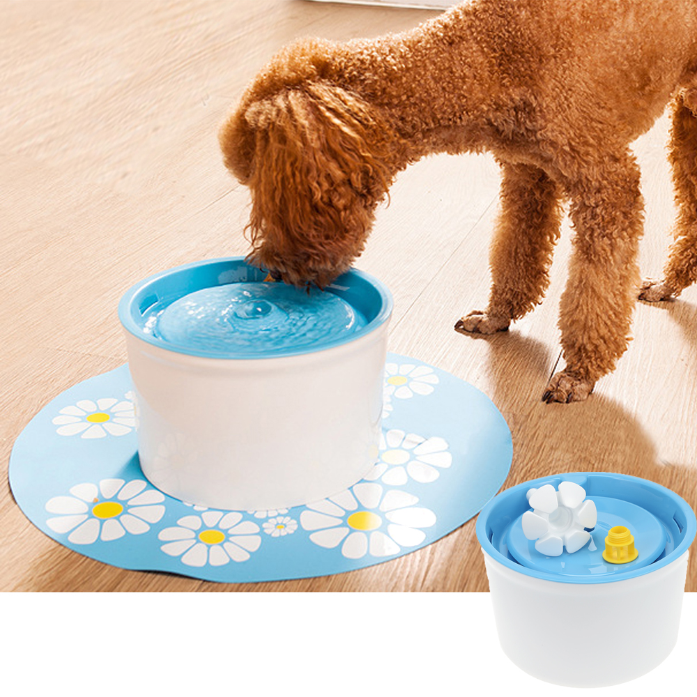 Pet Supplies Flower Automatic Electronic Pet Cat Dog Water Drinking Fountain Bowl Filter 1.6l