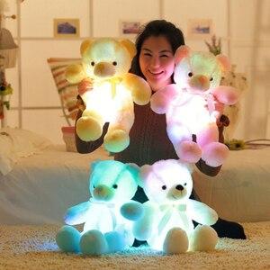 50cm criativo light up led bonito urso animais de pelúcia brinquedo colorido brilhante kawaii urso brinquedos de natal para crianças qb214