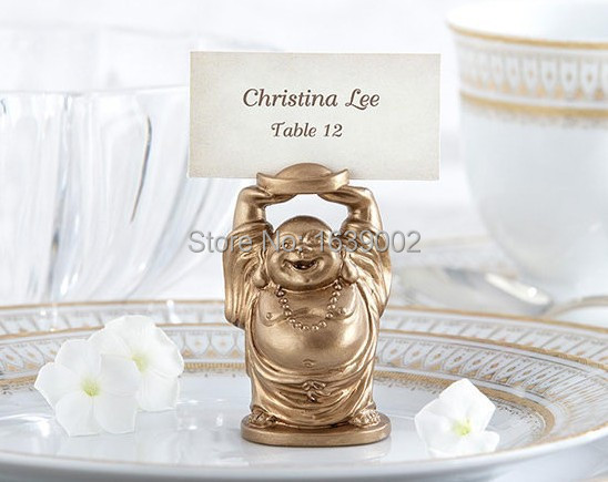 New Golden Laughing Buddha Place Card Holder wedding faovrs wholesale free shipping 20pcs