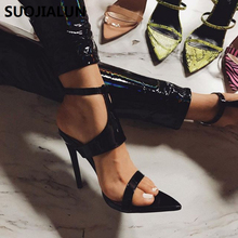 SUOJIALUN 2019 Women Pumps High Thin Heels Spring Autumn Pointed Toe Ladies Sexy Sandals Party Weeding Shoes
