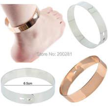 1 Piece Fashion Wrist Flat Mirrors Metal Ankle Bracelet Leg Foot Cuff Bracelets Bangles Free Shipping