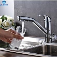 Ulgksd оптом и в розницу хром смеситель для кухни раковина кран на бортике очистки водопроводной воды кухня смеситель