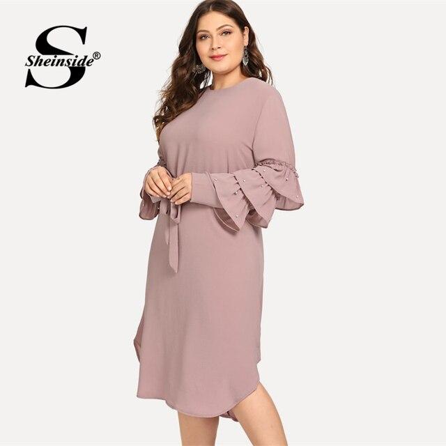 Sheinside Plus Size Layered Sleeve Pearls Beaded Dress Women 2019 Spring Elegant Flounce Sleeve Midi Dresses Ladies A Line Dress 3