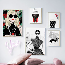 Fashion Glasses Girl Handbag High Heels  Nordic Posters And Prints Wall Art Canvas PaintingWall Pictures For Living Room Decor цена