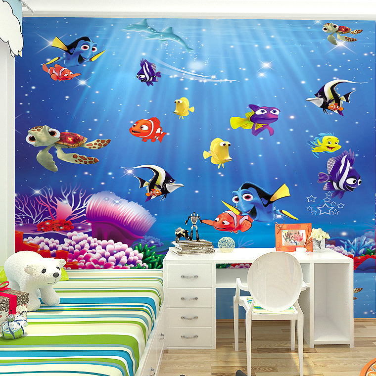 Online kaufen gro handel mural aquarium aus china mural Wallpaper for childrens room