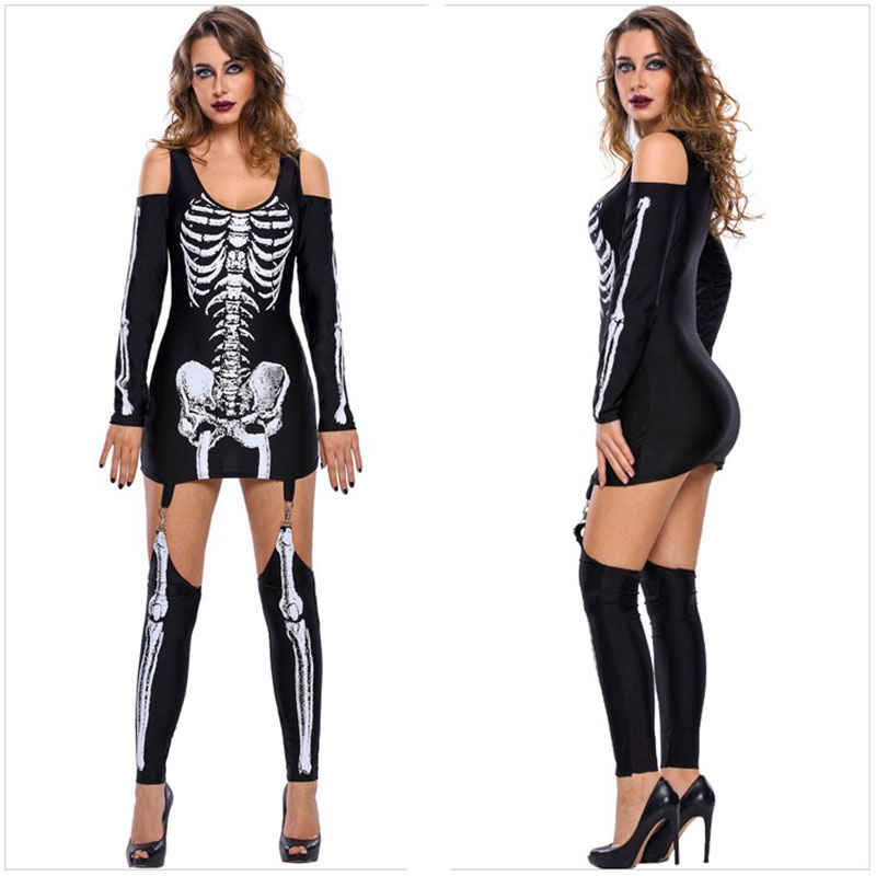 Adult Women Halloween Scary Skeleton Costume Demon Zombie -8276