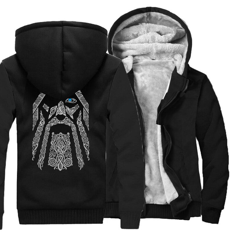 Odin Vikings Hoodies For Men 2019 New Fashion Wool Liner Camouflage Sleeve Coats Winter Sweatshirt Raglan Print Jacket Tracksuit