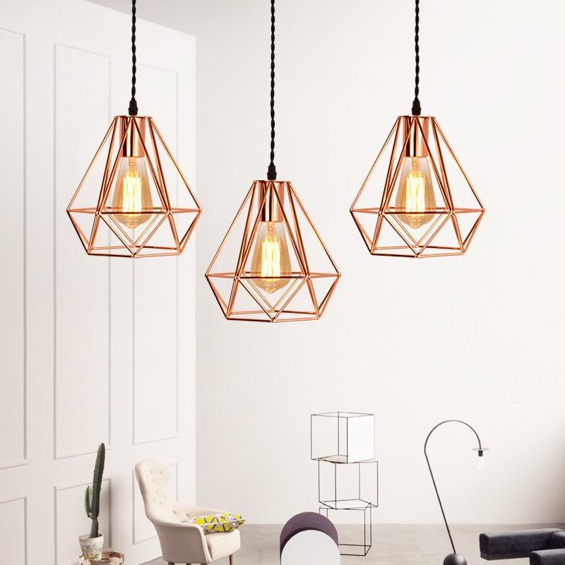 Modern Rose Gold Pendant Light Diamond Hanging Lamp Pink Gold Suspension Droplight for Dining Room Bedroom Restaurant Bar