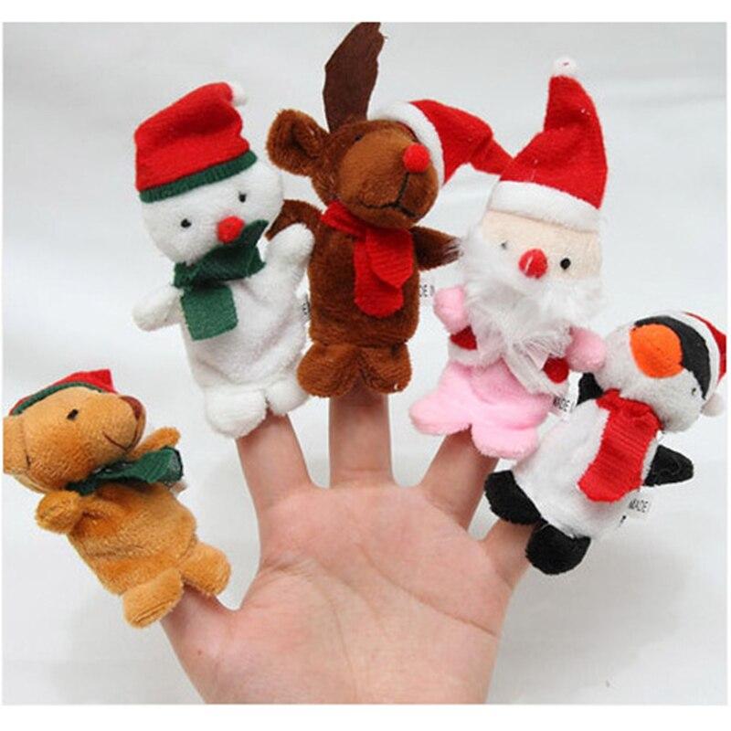 ⊹5 unids Funny Santa Claus muñeco de nieve dedo Títeres felpa ...