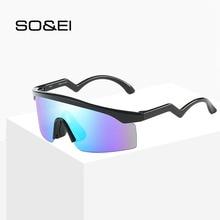 SO&EI Retro Outdoor Windproof Sunglasses Women Mirror Coating Reflective Shades Male Driving Sun Glasses  Goggles UV400
