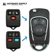 Geändert Für Ford 3 + 1 Tasten Fernbedienung Flip Schlüssel 315/433MHz ohne Klinge AutokeySupply AKFDC437