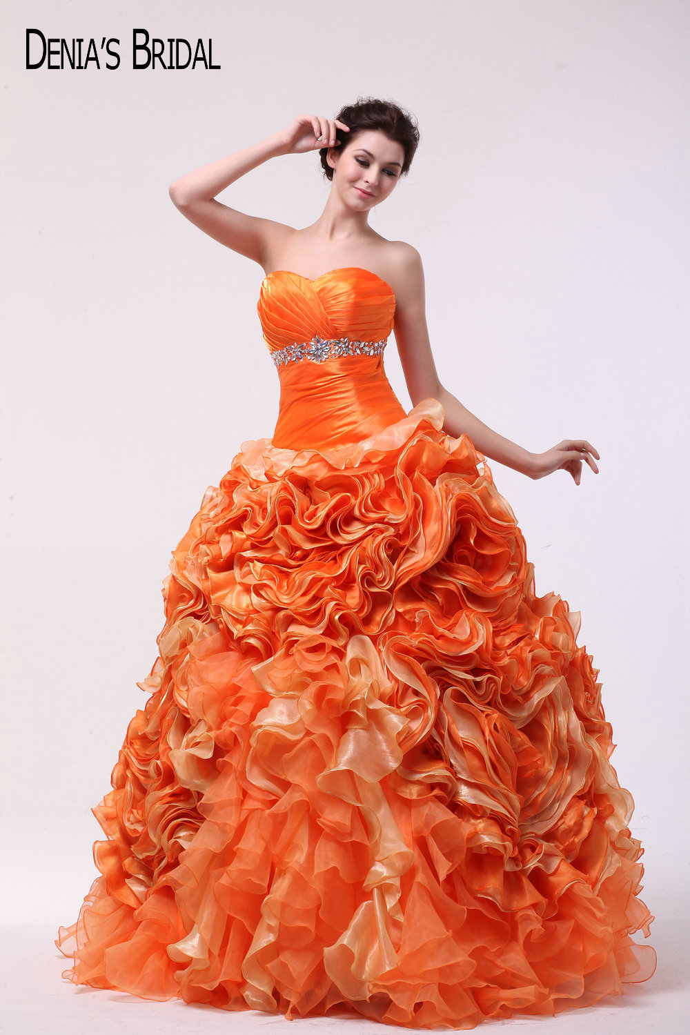 2017 Orange Ball Gown Evening Dresses with Sweetheart Neckline Tiers ...