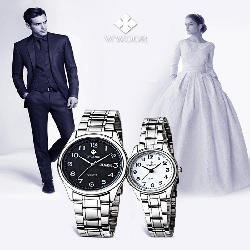 2016 Lovers Watches WWOOR Quartz Couple Watch Women Men Dress Pair Watches Dress Wristwatches Fashion Casual Watches for Lovers