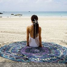 Hot Sales 150cm Bedding Outlet Round Beach Towel Fire Peacock Mandala Chiffon