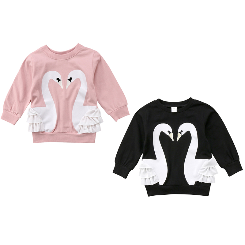 0-5Y Newborn Toddler Kids Baby Girls Swan Clothes Long Sleeve Ruffles Lace Pullover Hoodies Tops Children Clothes pudcoco baby girls kids casual long sleeve hoodies clothes rainbow striped o neck pullover sweatshirt tops