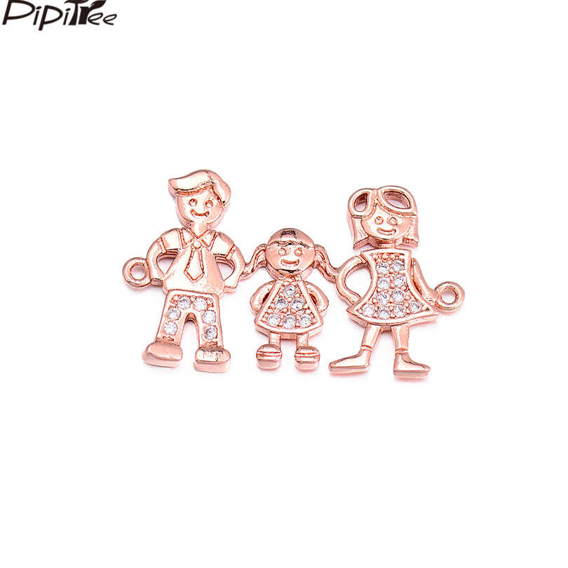 Pipitree Dad & Mom & Girl & Boy Family Jewelry Charm fit Bracelet Micro-mosaic DIY Copper CZ Charms for Jewelry Making Wholesale
