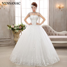 VENSANAC 2018 Crystal Strapless Bow Ball Gown Wedding Dresses Lace Appliques Off The Shoulder Backless Bridal Gowns цена и фото