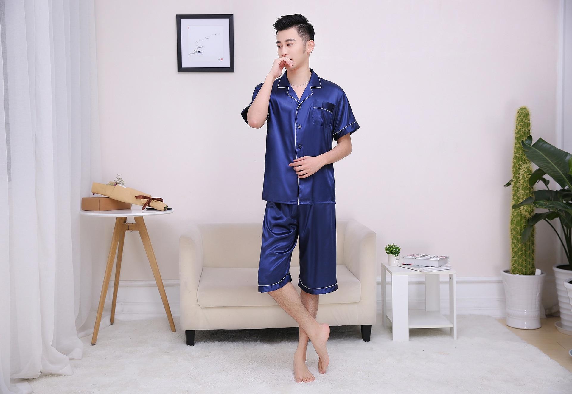 2019 2018 Men Pajamas Sleepwear Silk Pyjamas Men Satin Pajama 8150 ... dc6f40ae6