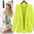 2017 Hot New Women Blazers And Jackets Long-Sleeve Notched One Button Blazer With Pockets Slim Jacket Outerwear & Coats WT34-S
