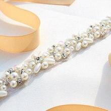 MissRDress жемчуг свадебный пояс ручной работы лента Свадебная со стразами простые серебряные стразы свадебный пояс, лента для свадебных платьев JK803
