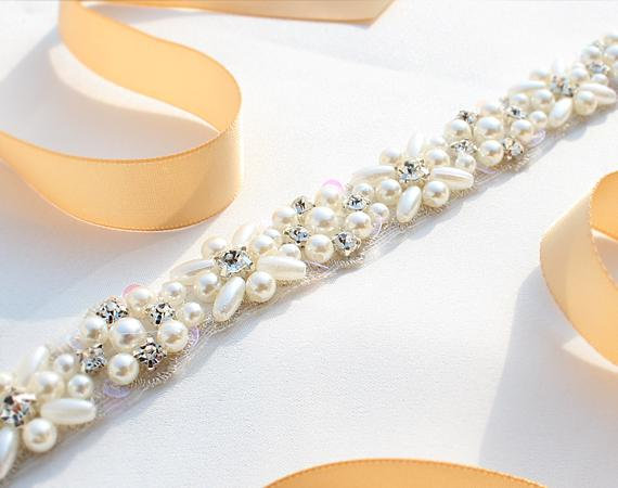 MissRDress Pearls Wedding Belt Handmade Crystal Bridal Sash Simple Silver Rhinestones Bridal Belt Sash For Wedding Dresses JK803