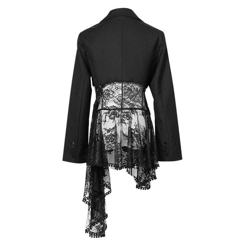 Nouvelle Blazer Unique Neploe Sur Dentelle Automne Creux Poches Bouton Femmes Patchwork Ol Mode Manteau 2019 Black 68797 Outwear Mince Femelle 1q16wXS