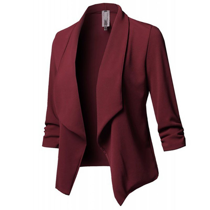Neue Ankunft Frauen Herbst Winter Gefaltetes Festes Farbe Jacken Revers Lässige Long Sleeves Schlank Warme Mantel Blazer