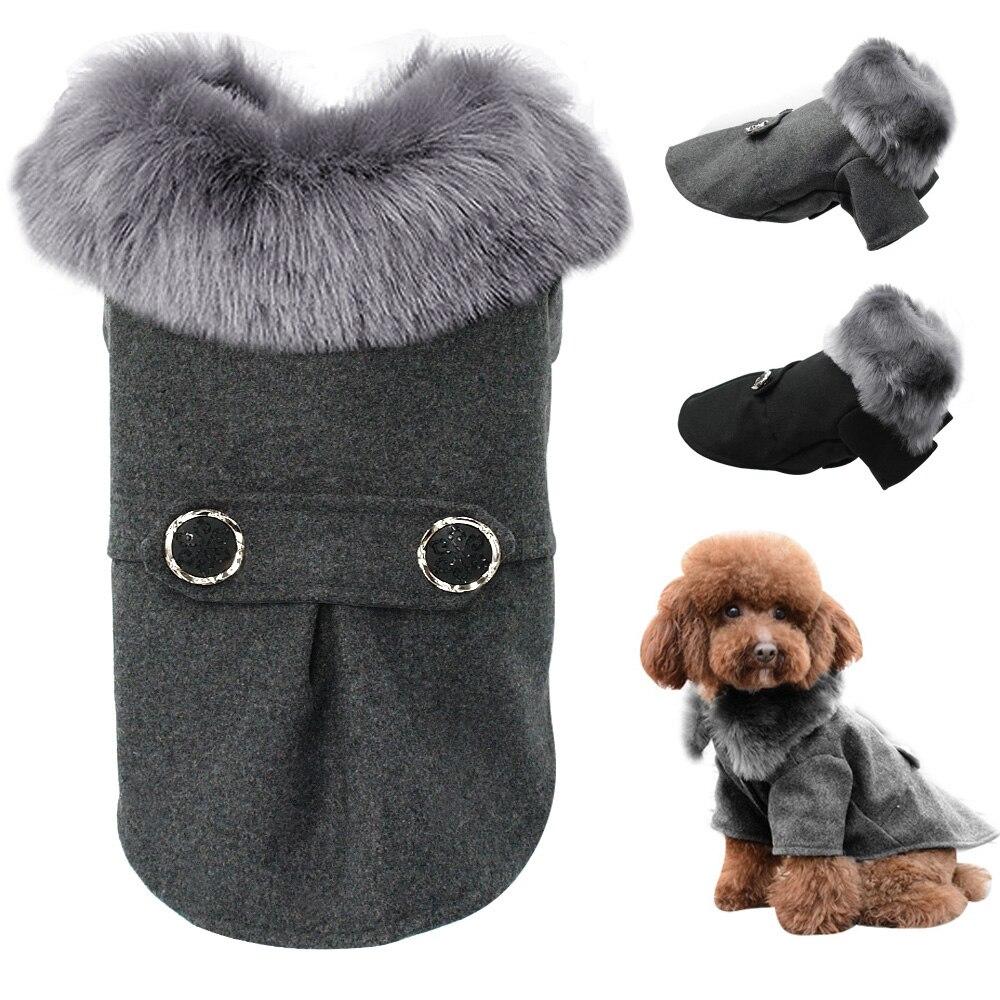 Vestiti del cane Per Cani di Piccola Taglia Media Pet Pug Chihuahua Vestiti di Inverno Roupas Animale Domestico del Cucciolo Yorkie Dog Coat Jacket Con Pelliccia s-2XL