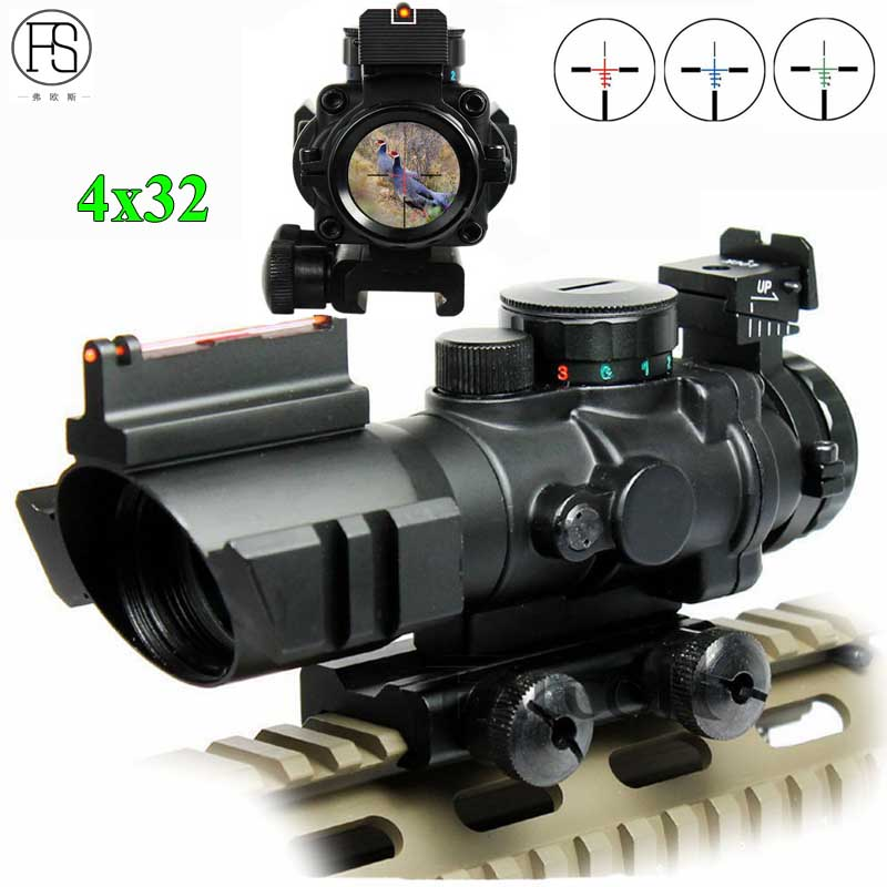 Tactical Riflescope 4X32 Reticle Illuminated Airsoft Gun Rifle Scope Optic Sight Sniper Scope 20mm Rail For Hunting Shooting