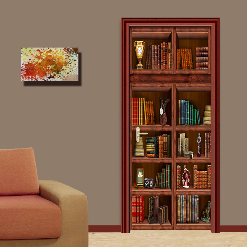 3D Wallpaper Chinese Style Bookshelf Mural Living Room Study Creative Door Sticker PVC Self-Adhesive Waterproof Papel De Parede